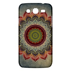 Folk Art Lotus Mandala Dirty Blue Red Samsung Galaxy Mega 5 8 I9152 Hardshell Case  by EDDArt