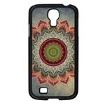 Folk Art Lotus Mandala Dirty Blue Red Samsung Galaxy S4 I9500/ I9505 Case (Black)
