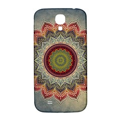 Folk Art Lotus Mandala Dirty Blue Red Samsung Galaxy S4 I9500/i9505  Hardshell Back Case by EDDArt
