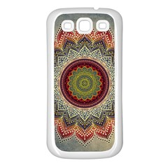 Folk Art Lotus Mandala Dirty Blue Red Samsung Galaxy S3 Back Case (white) by EDDArt