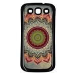 Folk Art Lotus Mandala Dirty Blue Red Samsung Galaxy S3 Back Case (Black)