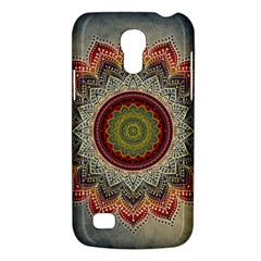 Folk Art Lotus Mandala Dirty Blue Red Galaxy S4 Mini by EDDArt