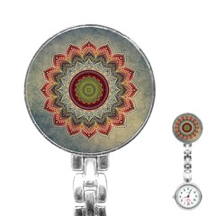 Folk Art Lotus Mandala Dirty Blue Red Stainless Steel Nurses Watch by EDDArt