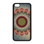 Folk Art Lotus Mandala Dirty Blue Red Apple iPhone 5C Seamless Case (Black)