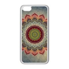 Folk Art Lotus Mandala Dirty Blue Red Apple Iphone 5c Seamless Case (white) by EDDArt