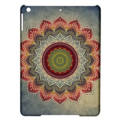 Folk Art Lotus Mandala Dirty Blue Red Ipad Air Hardshell Cases by EDDArt