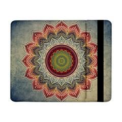 Folk Art Lotus Mandala Dirty Blue Red Samsung Galaxy Tab Pro 8 4  Flip Case by EDDArt