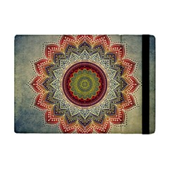 Folk Art Lotus Mandala Dirty Blue Red Ipad Mini 2 Flip Cases by EDDArt