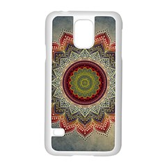 Folk Art Lotus Mandala Dirty Blue Red Samsung Galaxy S5 Case (white) by EDDArt