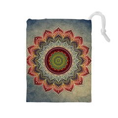 Folk Art Lotus Mandala Dirty Blue Red Drawstring Pouches (large)  by EDDArt