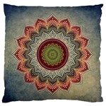 Folk Art Lotus Mandala Dirty Blue Red Standard Flano Cushion Case (Two Sides)