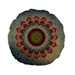 Folk Art Lotus Mandala Dirty Blue Red Standard 15  Premium Flano Round Cushions