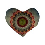 Folk Art Lotus Mandala Dirty Blue Red Standard 16  Premium Flano Heart Shape Cushions