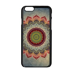 Folk Art Lotus Mandala Dirty Blue Red Apple Iphone 6/6s Black Enamel Case by EDDArt