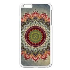Folk Art Lotus Mandala Dirty Blue Red Apple Iphone 6 Plus/6s Plus Enamel White Case by EDDArt