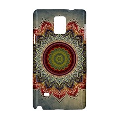 Folk Art Lotus Mandala Dirty Blue Red Samsung Galaxy Note 4 Hardshell Case by EDDArt