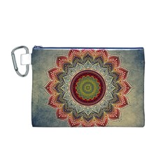 Folk Art Lotus Mandala Dirty Blue Red Canvas Cosmetic Bag (m) by EDDArt