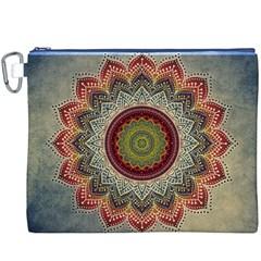 Folk Art Lotus Mandala Dirty Blue Red Canvas Cosmetic Bag (xxxl) by EDDArt