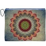 Folk Art Lotus Mandala Dirty Blue Red Canvas Cosmetic Bag (XXXL)