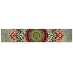 Folk Art Lotus Mandala Dirty Blue Red Flano Scarf (large) by EDDArt