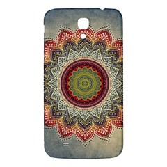 Folk Art Lotus Mandala Dirty Blue Red Samsung Galaxy Mega I9200 Hardshell Back Case by EDDArt