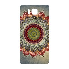 Folk Art Lotus Mandala Dirty Blue Red Samsung Galaxy Alpha Hardshell Back Case by EDDArt
