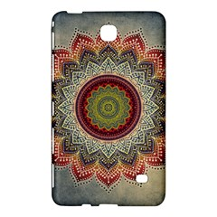 Folk Art Lotus Mandala Dirty Blue Red Samsung Galaxy Tab 4 (7 ) Hardshell Case  by EDDArt
