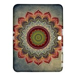Folk Art Lotus Mandala Dirty Blue Red Samsung Galaxy Tab 4 (10.1 ) Hardshell Case
