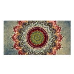 Folk Art Lotus Mandala Dirty Blue Red Satin Shawl by EDDArt