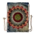 Folk Art Lotus Mandala Dirty Blue Red Drawstring Bag (Large)