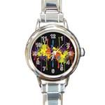 Crazy Multicolored Double Running Splashes Horizon Round Italian Charm Watch