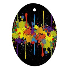 Crazy Multicolored Double Running Splashes Horizon Ornament (oval)  by EDDArt