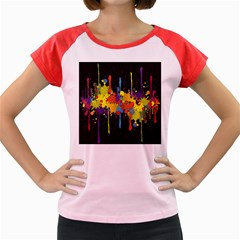 Crazy Multicolored Double Running Splashes Horizon Women s Cap Sleeve T Shirt by EDDArt