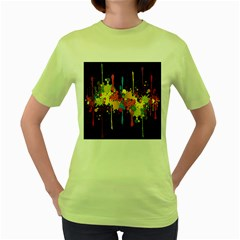 Crazy Multicolored Double Running Splashes Horizon Women s Green T Shirt by EDDArt