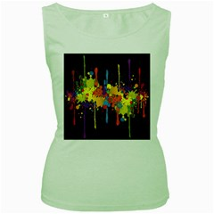 Crazy Multicolored Double Running Splashes Horizon Women s Green Tank Top by EDDArt