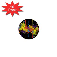 Crazy Multicolored Double Running Splashes Horizon 1  Mini Buttons (10 Pack)  by EDDArt
