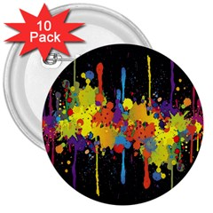 Crazy Multicolored Double Running Splashes Horizon 3  Buttons (10 Pack)  by EDDArt
