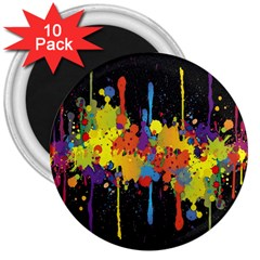 Crazy Multicolored Double Running Splashes Horizon 3  Magnets (10 Pack)  by EDDArt