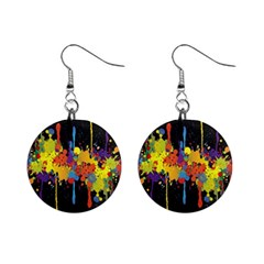 Crazy Multicolored Double Running Splashes Horizon Mini Button Earrings by EDDArt