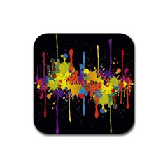 Crazy Multicolored Double Running Splashes Horizon Rubber Square Coaster (4 Pack)  by EDDArt