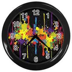 Crazy Multicolored Double Running Splashes Horizon Wall Clocks (black) by EDDArt