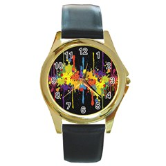 Crazy Multicolored Double Running Splashes Horizon Round Gold Metal Watch by EDDArt