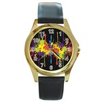 Crazy Multicolored Double Running Splashes Horizon Round Gold Metal Watch
