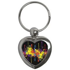 Crazy Multicolored Double Running Splashes Horizon Key Chains (heart)  by EDDArt