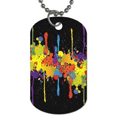 Crazy Multicolored Double Running Splashes Horizon Dog Tag (two Sides) by EDDArt