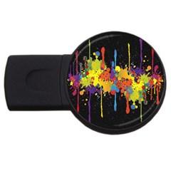 Crazy Multicolored Double Running Splashes Horizon Usb Flash Drive Round (2 Gb)  by EDDArt