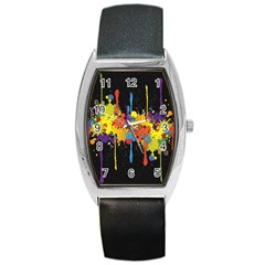 Crazy Multicolored Double Running Splashes Horizon Barrel Style Metal Watch by EDDArt