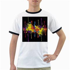 Crazy Multicolored Double Running Splashes Horizon Ringer T Shirts by EDDArt
