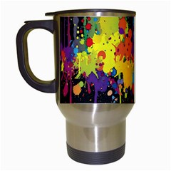 Crazy Multicolored Double Running Splashes Horizon Travel Mugs (white) by EDDArt