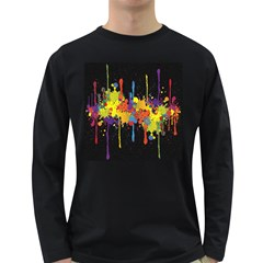 Crazy Multicolored Double Running Splashes Horizon Long Sleeve Dark T Shirts by EDDArt